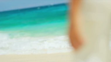Elegant Female White Beach Clothes Island Vacation — Stock Video