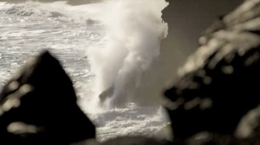 Steam Rising Volcanic Lava in Ocean — Stock Video