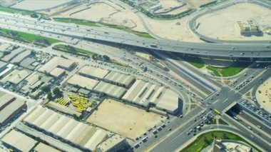 Aerial view desert expressway interchange  Dubai — Stock Video