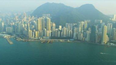 空撮ビクトリア港、香港 — ストックビデオ