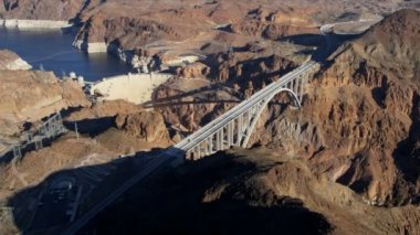 Aerial view Hoover Dam Colorado River Bridge — Stock Video