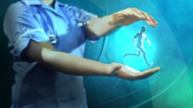 Nurse holding 3D bionic running man — Stock Video