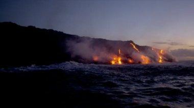 Molten Lava Pouring into Ocean — Stock Video