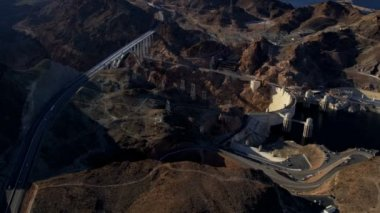 Aerial view Black Canyon   Hoover Dam — Stock Video