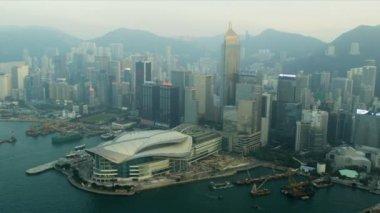Aerial View Victoria Peak Harbour, Hong Kong — Stock Video