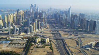 Aerial view Dubai Sheikh Zayed Interchange — Stock Video