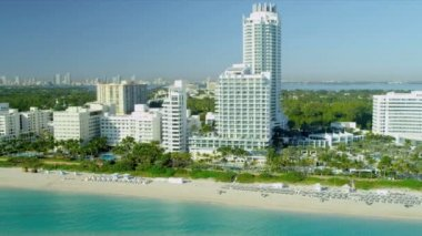 Aerial view Miami Beach  resort hotels — 图库视频影像