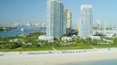 Aerial view South Pointe Park Miami — Vídeo Stock