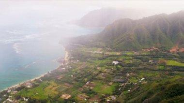 Aerial view tropical valley sea coastline, Hawaii — Stock Video