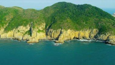 Aerial View Rugged Coastline nr Hong Kong — Stock Video
