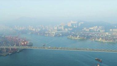 Aerial View Stonecutters Road Bridge, Hong Kong — Stock Video