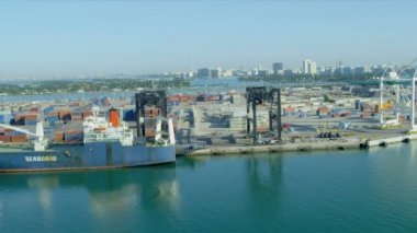 International shipping container port in Miami — Stock Video