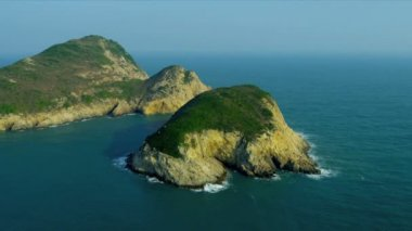 Aerial View Rugged Coastline nr Hong Kong — Stock Video