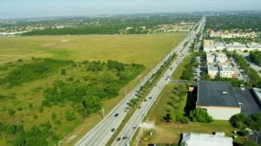Aerial view commercial business, South Miami — Stock Video
