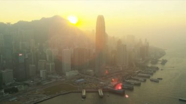 Aerial Sunset View Victoria Peak Harbour, Hong Kong — Stock Video