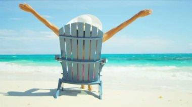 Beach Girl Loving Tropical Island Life — Stock Video
