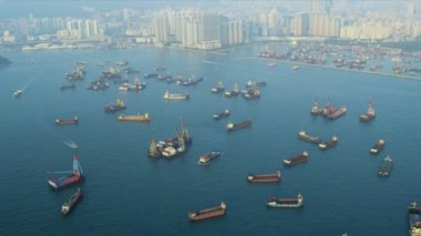 Aerial View Nautical Vessels Hong Kong — Stock Video
