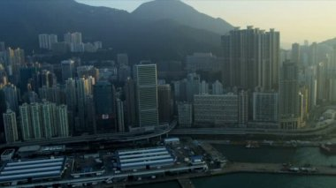 Aerial view of Victoria Harbour — Stock Video