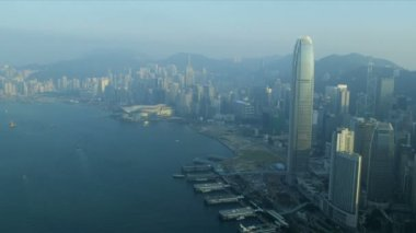 Aerial View Victoria Harbour, Hong Kong — Stock Video