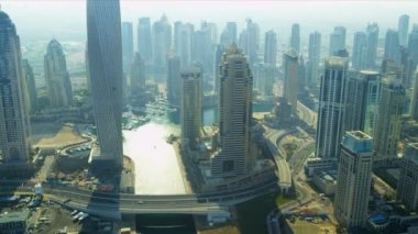 Aerial city view Dubai Marina — Stock Video