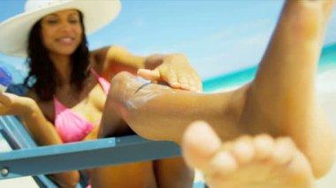 Girl Bikini Straw Hat Enjoying Sun Applying Sunscreen — Stock Video