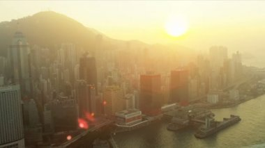 Aerial View of Sunset Hong Kong Island, China — Stock Video