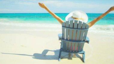 Girl Swimsuit Straw Hat Loving Carefree Beach Living — Stock Video