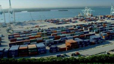 Uluslararası nakliye konteyner liman Miami — Stok video