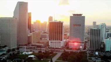 Aerial view Miami City  Bicentennial Park — Stock Video