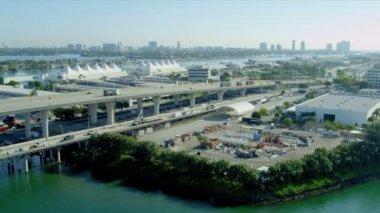 Port Boulevard Bridge in Miami — Stock Video
