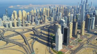 Aerial view Dubai Sheikh Zayed Road — Stock Video