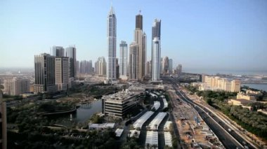 Skyscrapers on Sheikh Zayed Road downtown in Dubai — Stock Video