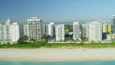 Aerial view Miami Beach hotels, USA — Stock Video