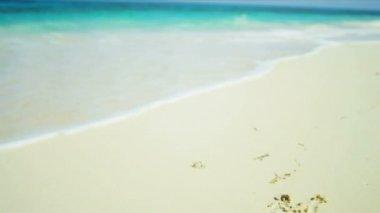 サンタ帽子時候のあいさつの熱帯の島のビーチ — ストックビデオ