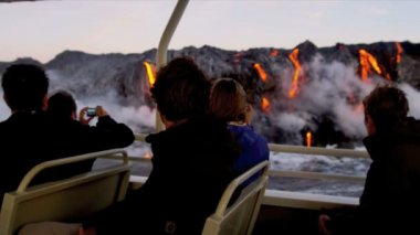 Sightseeing Boat Viewing Volcanic Lava — Stock Video