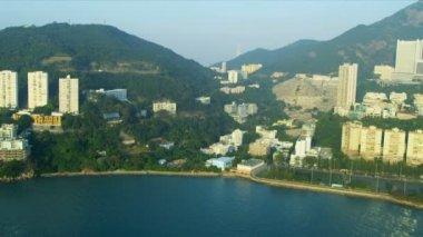 Aerial View of Sandy Bay Hong Kong Island — Stock Video