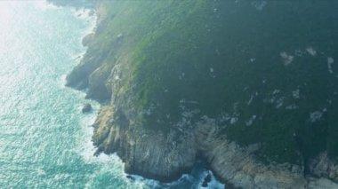 Aerial View of coastline sea cliffs Hong Kong — Stock Video