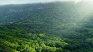 Sun rays on volcanic cliffs — Stock Video