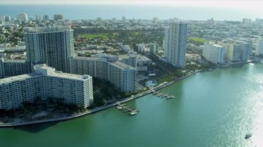Aerial view Miami Beach Resort, Miami — Stock Video