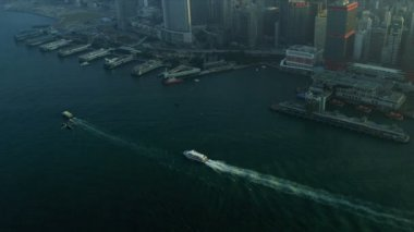 Aerial View Flying Helicopter Hong Kong — Stock Video