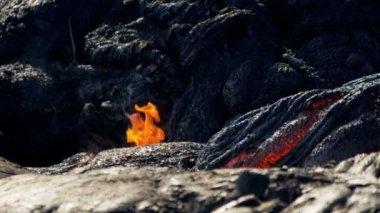 Volcanic Lava Creating Environmental Wilderness — Stock Video