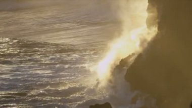 Steam Rising Kilauea Volcanic Lava Ocean at  Sunset — Stock Video