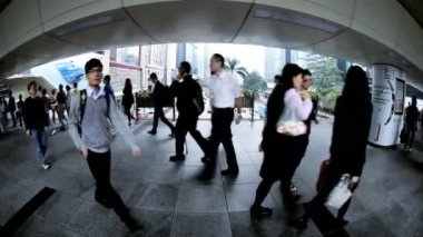 Pedestrian elevated walkway — Stock Video