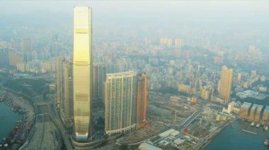 Aerial View International Commerce Centre — ストックビデオ