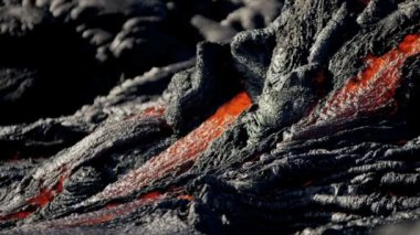 Destructive flow of hot volcanic lava — Stock Video