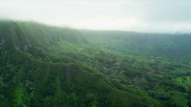Aerial view of volcanic cliffs, Hawaii — Stock Video