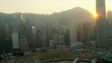 Aerial View of Sunset Hong Kong Island, China — Stock Video