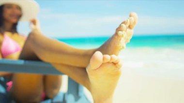 Girl Wearing Bikini Sunbathing Island Beach — Stock Video
