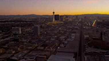 Aerial dusk view Stratosphere Tower Hotel, Las Vegas — Stock Video