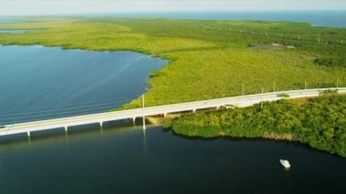Aerial view US Route 1 Overseas Highway Key Largo — Video Stock